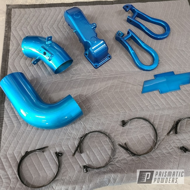 Chevy Diesel Truck Intake And Parts Powder Coated In Jamaican Teal Over Alien Silver