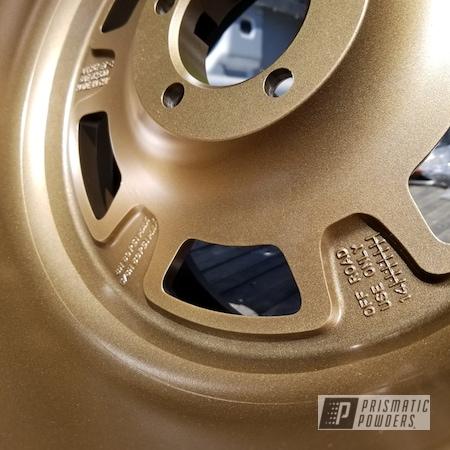 """Powder Coating: Wheels,Rims,17"""" Aluminum Rims,YANKEE GOLD UMB-1807,Jeep,Rock Crawler,Beadlock"""
