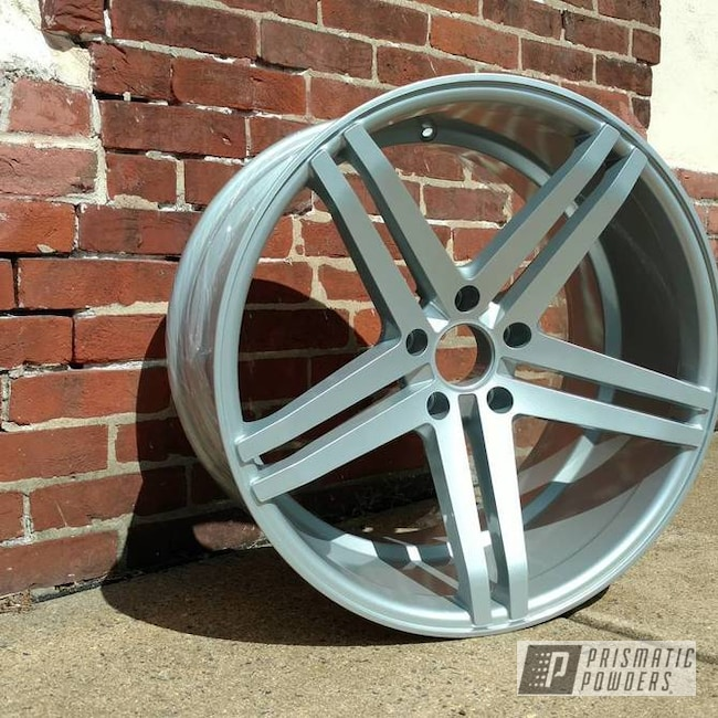 Porsche Silver And Soft Clear Powder Coat On This Custom Rim