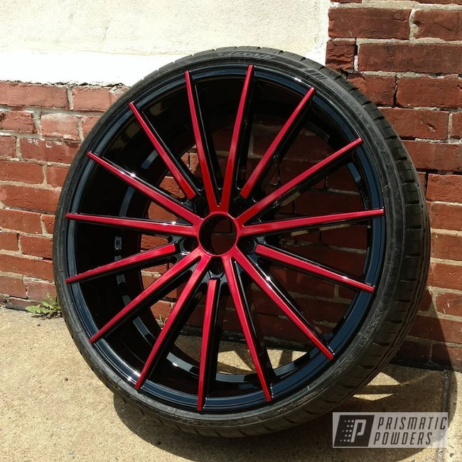 Powder Coating: Wheels,Automotive,SUPER CHROME USS-4482,Multi Stage Application,Ink Black PSS-0106,Two Tone Wheels,Apple Spice PPB-0949