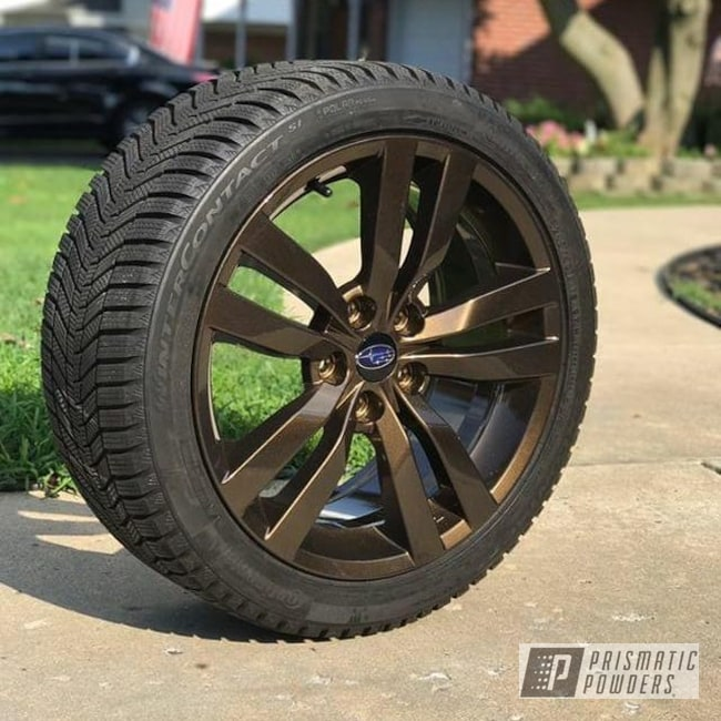 Powder Coating: Wheels,Automotive,Clear Vision PPS-2974,Two Stage Application,Bronze Chrome PMB-4124