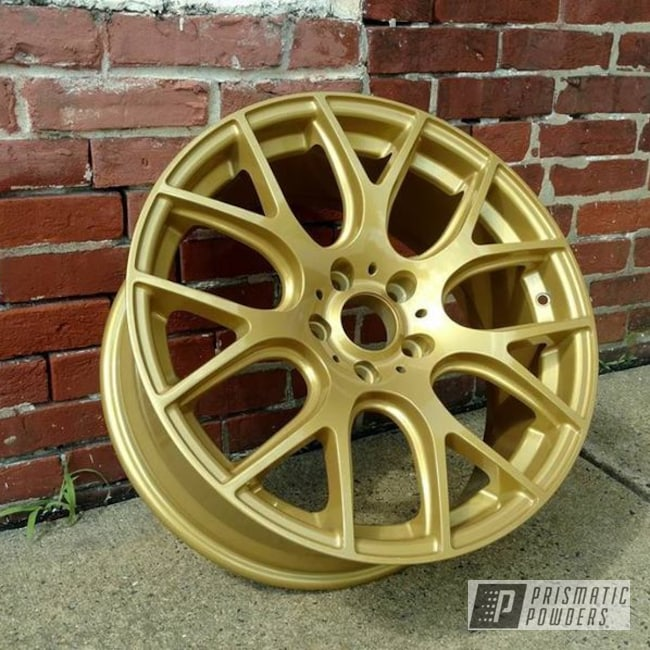 Powder Coating: Wheels,Goldtastic PMB-6625,Automotive,Two Stage Application,Amity Gold/Green PPB-6010