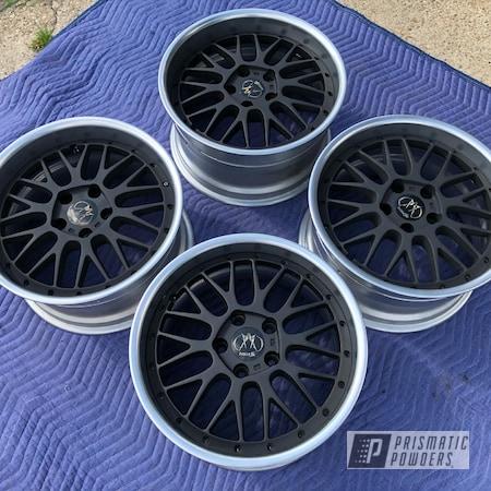 "Powder Coating: Wheels,POLISHED ALUMINUM HSS-2345,2 Tone,Rims,Black Satin Texture PTB-7102,Two Tone Wheels,18"" Aluminum Rims,Two Tone,Two Toned"