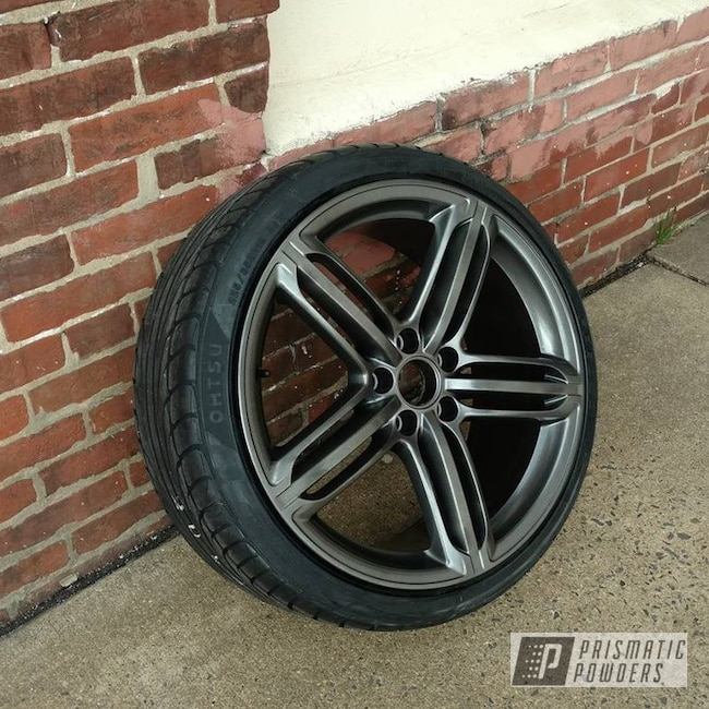 Powder Coating: Wheels,Automotive,Soft Clear PPS-1334,Two Stage Application,Kingsport Grey PMB-5027