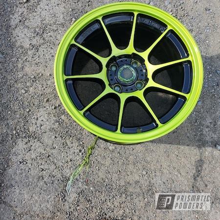 "Powder Coating: Wheels,Automotive,Clear Vision PPS-2974,2 Tone,Rims,Ink Black PSS-0106,Green,15"" Wheels,Illusion Shocker PMB-10050"