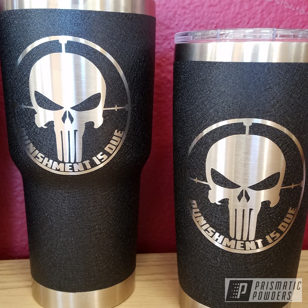 personalized cup using splatter black powder coat gallery project