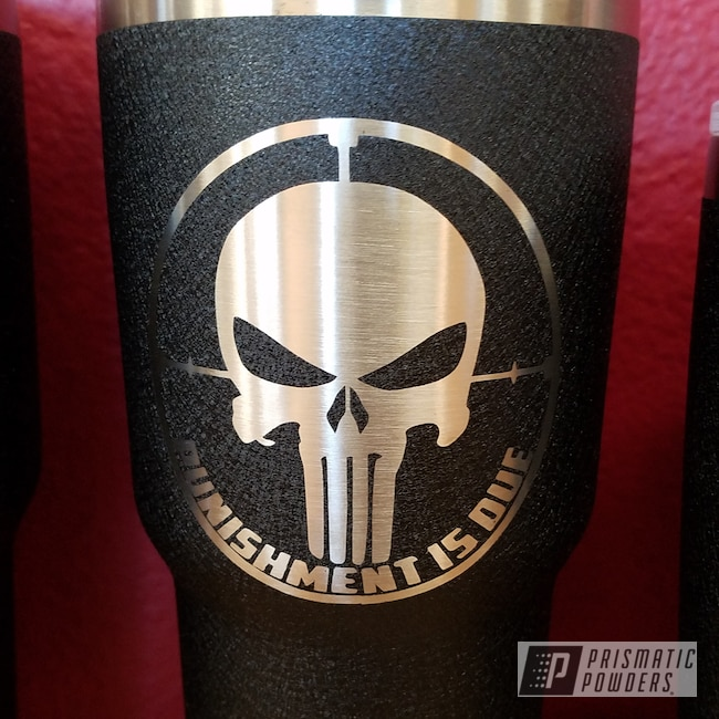 Powder Coating: Splatter Black PWS-4344,Custom Cups,Textured Finish,Textured Powder Coating,Punisher