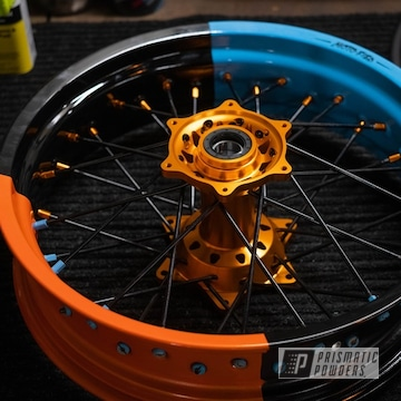 Powder Coated Supermoto Wheels In Gumball Blue, Clear Vision And Pumpkin Gold