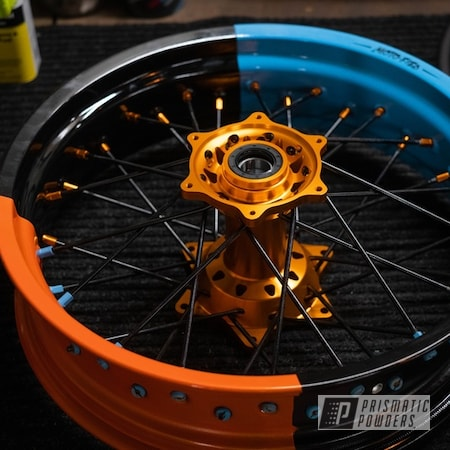 Powder Coating: Wheels,Clear Vision PPS-2974,KTM,Motorcycle Rims,2 Tone,Pumpkin Gold PMB-4132,Motorcycle Wheels,Motorcycles,Supermoto Wheels,Gumball Blue PSS-6928