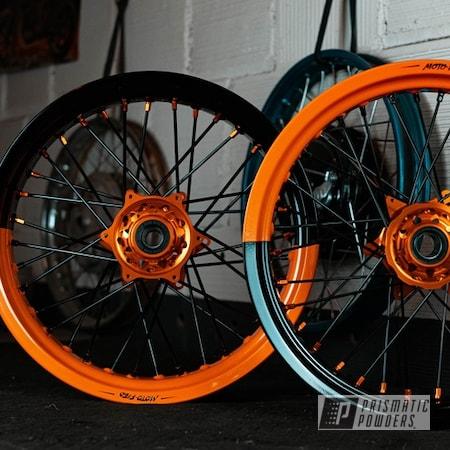 Powder Coating: Wheels,Clear Vision PPS-2974,KTM,BLACK JACK USS-1522,Motorcycle Rims,Pumpkin Gold PMB-4132,Supermoto Wheel,Motorcycle Wheels,2 stage