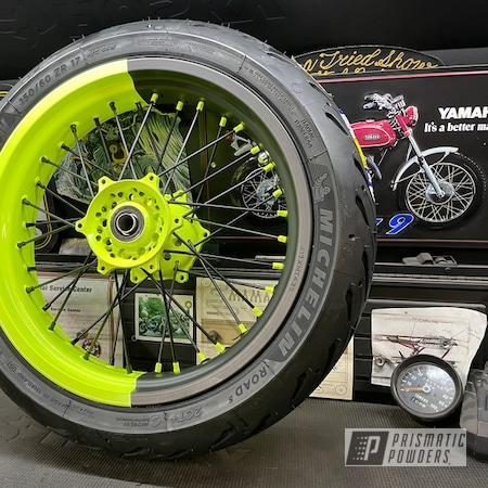 Powder Coating: Wheels,BLACK JACK USS-1522,Motorcycle Rims,2 Tone,WR450F,Yamaha,Supermoto,Neon Yellow PSS-1104,Motorcycle Wheels,Spoke Wheel