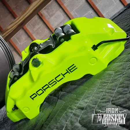 Powder Coating: Automotive,Calipers,Clear Vision PPS-2974,Brake Calipers,Neon Yellow PSS-1104