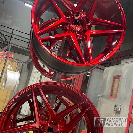 """Powder Coating: Wheels,Clear Vision PPS-2974,Super Chrome Plus UMS-10671,22"""",Rancher Red PPB-6415,Aluminum Wheels"""