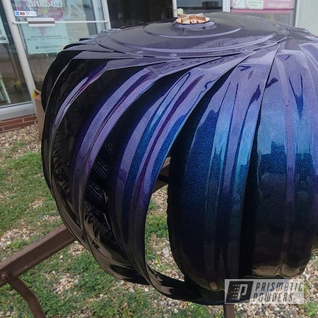 Powder Coating: Metal Art,Chameleon,Yard Art,Chameleon Sapphire PPB-5729,Ink Black PSS-0106,Wind Power,Two Coat Application,Outdoor Decor