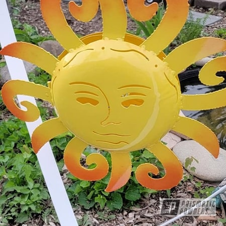 Powder Coating: Metal Art,Multi Color Application,Yard Art,Sun,Outdoor Decor,RAL 1018 ZincYellow,RAL 2008 Bright Red Orange
