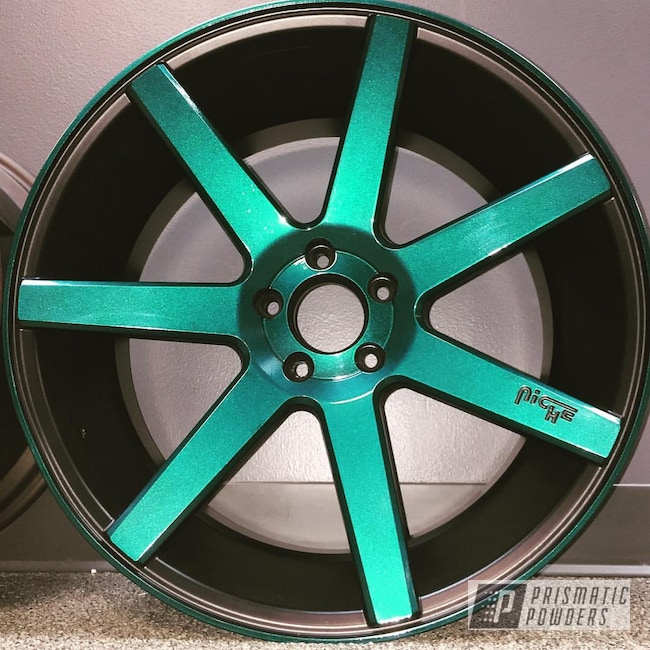 Powder Coating: Wheels,JAMAICAN TEAL UPB-2043,Niche,Kingsport Grey PMB-5027,Two Tone Wheels,Silk Satin Black HSS-1336