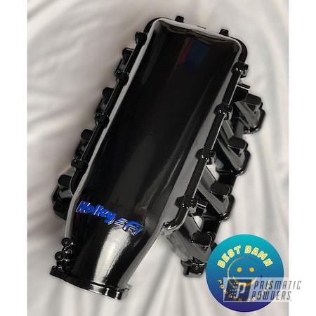 Powder Coating: Intake Manifold,Automotive,Holley,Ink Black PSS-0106,Automotive Parts,Mayham Blue PSB-6778