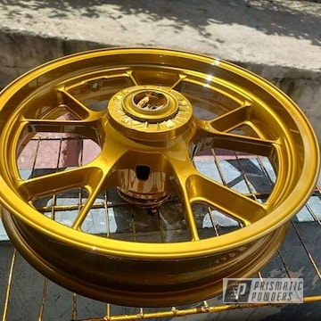 Powder Coated Kawasaki Zx14r Wheels In Super Chrome Plus And Brassy Gold