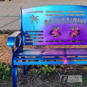 Outdoor Bench Powder Coated In Super Chrome Plus, Peeka Blue, Lollypop Berry, Hawaiian Blue And Hawaiian Teal