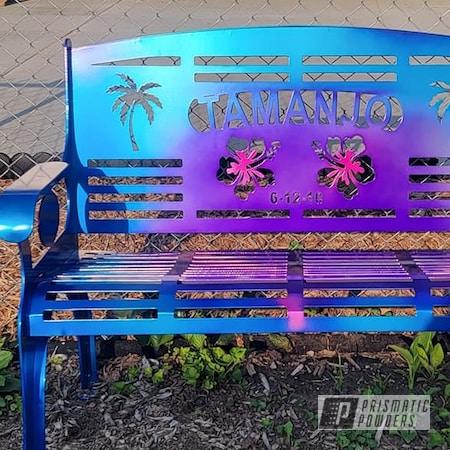 Powder Coating: HAWAIIAN TEAL UPB-1736,Multi Color Application,Custom Metal Furniture,Super Chrome Plus UMS-10671,Peeka Blue PPS-4351,Transparent Colors,Outdoor Bench,Patio Bench,HAWAIIAN BLUE PPB-4446,LOLLYPOP BERRY UPS-1509,Outdoor Patio Furniture,Transparents