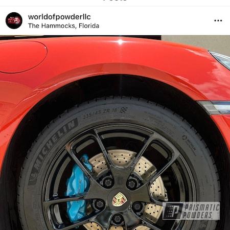 Powder Coating: Automotive,Alloy Wheels,Clear Vision PPS-2974,GLOSS BLACK USS-2603,Miami Blue,Porsche,Gloss Black