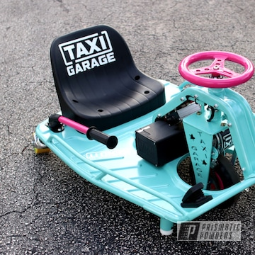 Powder Coated Taxi Garage Crazy Cart In Passion Pink And Pearled Turquoise