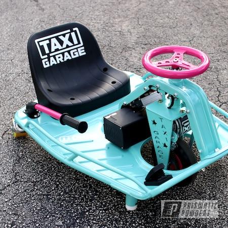 Powder Coating: Automotive,Passion Pink PSS-4679,Taxi Garage Crazy Cart,Taxi Garage,Crazy Cart,Pearled Turquoise PMB-8168