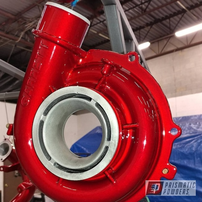 Powder Coating: Turbo Housing,SUPER CHROME USS-4482,Two Stage Application,Turbo RZR,LOLLYPOP RED UPS-1506