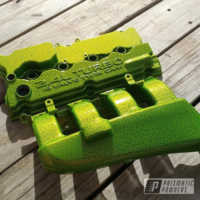 Powder Coating: Intake Manifold,Srt4 valve cover,Two Stage Powder Application,Two Stage Application,Mopar,Black Frost PVS-3083,Shocker Yellow PPS-4765