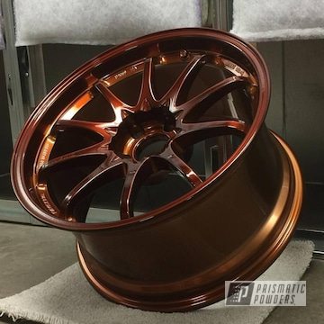 Rays Wheels In Transparent Copper And Super Chrome Powder Coating
