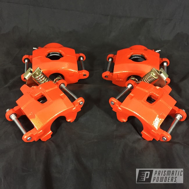 Powder Coating: Automotive,Calipers,Clear Vision PPS-2974,Brakes,Pumpkin Gold PMB-4132,Brake Calipers