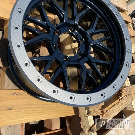 Powder Coating: Wheels,Polar Sparkle PPB-5939,Rims,GLOSS BLACK USS-2603,2 stage,Alien Silver PMS-2569,Ford,f250,F150,2 Tone Wheels