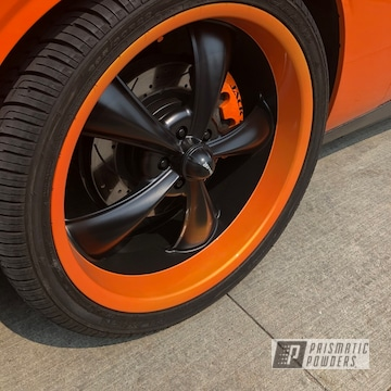 Powder Coated Dodge Challenger Wheels In Pps-2974 And Pms-4620