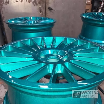 Heavy Silver And Cortez Teal Powder Coated Wheels