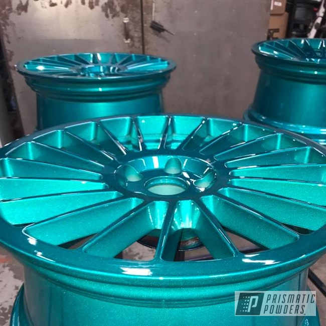 Powder Coating: Wheels,Heavy Silver PMS-0517,Two Stage Application,Cortez Teal PPS-4477