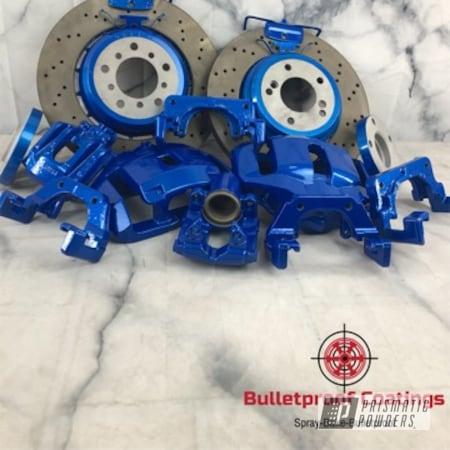 Powder Coating: Automotive,Calipers,BMW M Brakes,Two Stage Application,Flake,BMW,M3,E92,Illusion Lite Blue PMS-4621,2 stage,Brake,Trendsetter,BMW Blue,Automotive Parts,Brakes,Brake Calipers,BMW Brakes,sparkle,Teal,Brake Rotors,Ultra Blue Sparkle PPB-5004,Brake Caliper