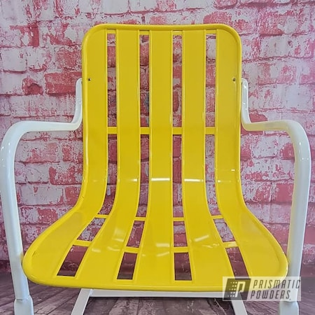 Powder Coating: Vintage Chairs,Patio Chairs,Chairs,2 Tone,Vintage Lawn Chairs,Outdoor Chairs,RAL 1018 ZincYellow,Gloss White PSS-5690,Outdoor Patio Furniture,Furniture
