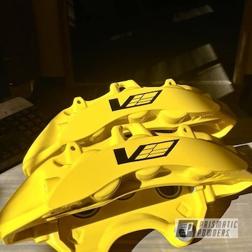 Corvette Brake Calipers In Hot Yellow Powder Coating