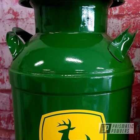 Powder Coating: Cream Can,Vintage Cream Can,Tractor Green PSS-4517,Old Metal Cans,John Deere