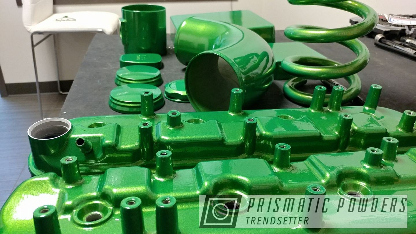 Powder Coating: Automotive,Clear Vision PPS-2974,Custom Auto Parts,Illusion Green Ice PMB-7025,Engine Parts