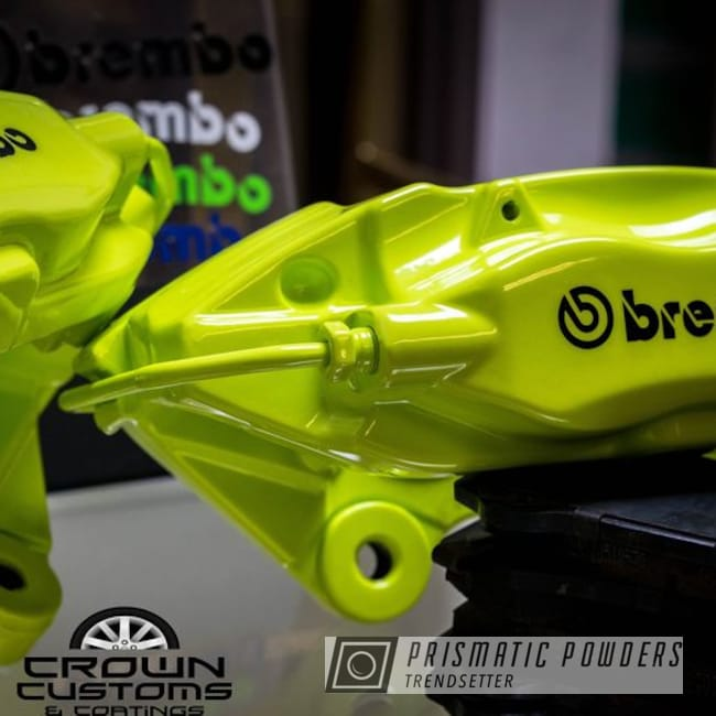 Brembo Brake Calipers Coated In Chartreuse Sherbert