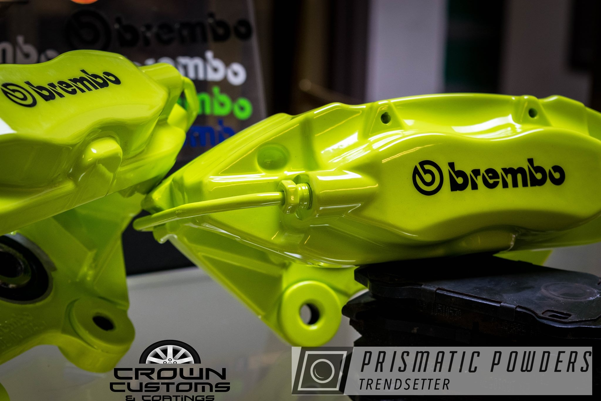 Powder Coating: Chartreuse Sherbert PSS-7068,Brembo,Brake Calipers,Brembo Brake Calipers