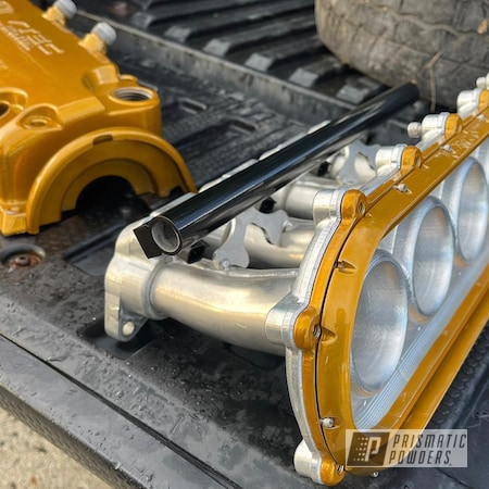 Powder Coating: Intake Manifold,Automotive,Clear Vision PPS-2974,Heavy Silver PMS-0517,Aluminum Intake,2 Tone,Ink Black PSS-0106,Honda,Brassy Gold PPS-6530,Automotive Parts
