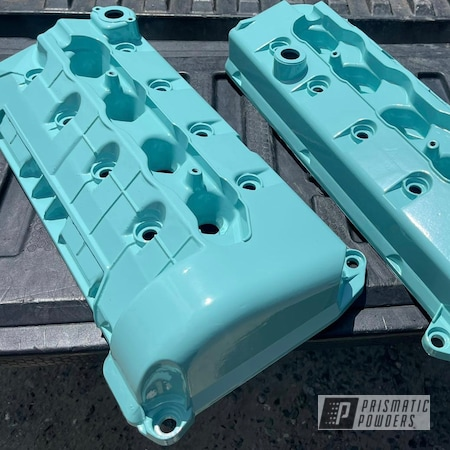 Powder Coating: Automotive,Clear Vision PPS-2974,Sea Foam Green PSS-4063,Valve Covers,Ford,Valve Cover,Automotive Parts