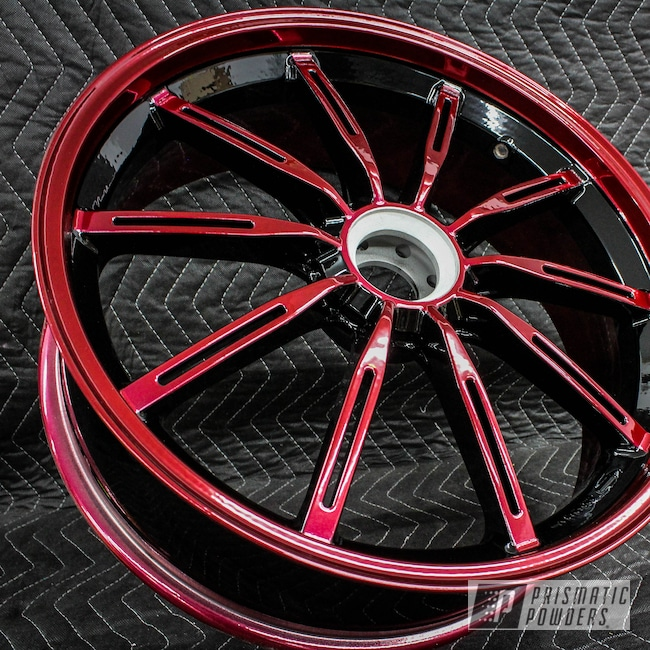 Powder Coating: Wheels,LOLLYPOP RED UPS-1506,Ink Black PSS-0106