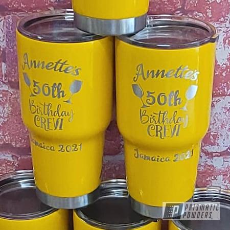 Powder Coating: Tumbler Cup,Drinkware,RAL 1021 Colza Yellow,Custom Tumbler,Stainless Steel Drinkware