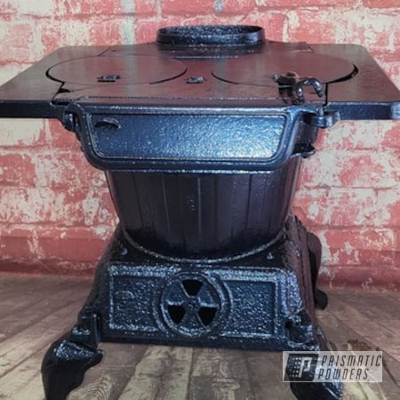 Powder Coating: Stove,Vintage Stove,Old Stove,Vintage,Cast Iron Stove,Diamond Blue PMB-4042,Pot Bellied Stove