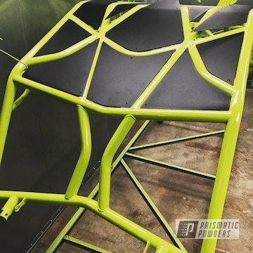 Rzr Roll Cage Coated In Chartreuse Sherbert