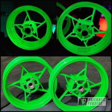 Powder Coated Kawasaki Wheels In Pss-1221 And Ppb-4617