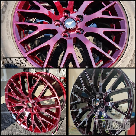 """Powder Coating: Wheels,Clear Vision PPS-2974,Rims,2 stage,19"""" Aluminum Rims,Ford Mustang,Ford,Illusion Malbec PMB-6906"""